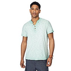 Mantaray - Big and tall pale green oil wash y-neck t-shirt