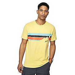 Mantaray - Yellow striped mountain print t-shirt
