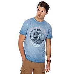 Mantaray - Blue oil wash printed t-shirt
