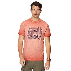 Mantaray - Big and tall orange oil wash printed t-shirt