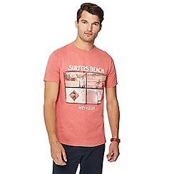 Mantaray - Peach 'Surfers Beach' print t-shirt