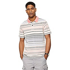 Mantaray - Big and tall pink variegated striped polo shirt