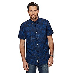 Mantaray - Blue tropical floral print shirt