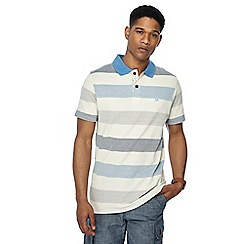 Mantaray - Big and tall blue textured striped polo shirt