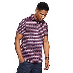 Mantaray - Plum stripe textured polo shirt