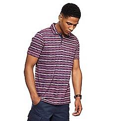 Mantaray - Big and tall plum stripe textured polo shirt