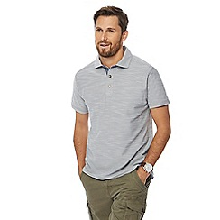 Mantaray - Big and tall grey birdseye textured polo shirt
