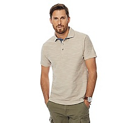 Mantaray - Big and tall beige birdseye texture polo shirt