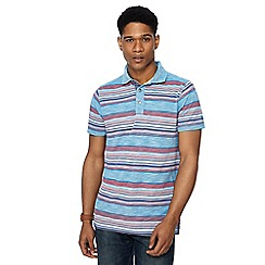 Mantaray - Big and tall blue birdseye stripe polo shirt