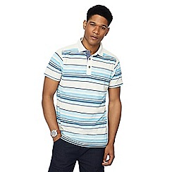 Mantaray - Off white birdseye stripe polo shirt