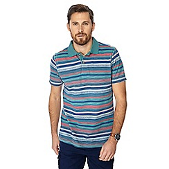 Mantaray - Big and tall turquoise textured stripe polo shirt