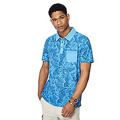 Mantaray - Big and tall blue floral print vintage wash polo shirt