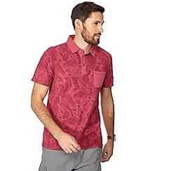 Mantaray - Pink floral print vintage wash polo shirt