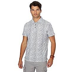 Mantaray - White vintage tile print polo shirt
