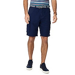 Maine New England - Big and tall navy linen blend regular fit cargo shorts