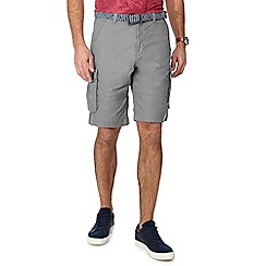 Mantaray - Grey linen blend regular fit cargo shorts
