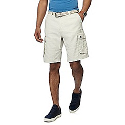 Mantaray - Cream linen blend regular fit cargo shorts