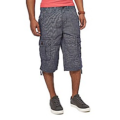 Maine New England - Navy textured cross hatch cargo shorts