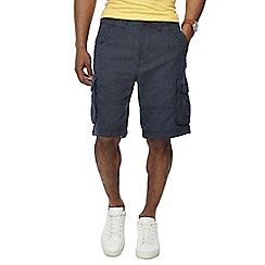 Mantaray - Big and tall navy textured regular fit cargo shorts