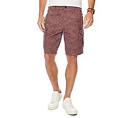 Mantaray - Dark pink leaf print cargo shorts