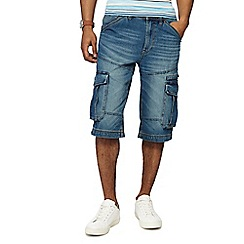Maine New England - Blue mid wash denim shorts