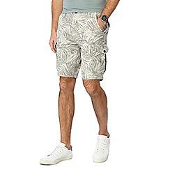 Mantaray - Big and tall natural leaf print cargo shorts