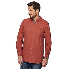 Mantaray - Big and tall dark orange herringbone textured shirt