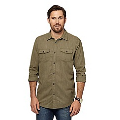 Mantaray - Khaki herringbone textured shirt