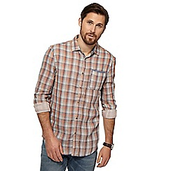 Mantaray - Big and tall orange checked long sleeve shirt