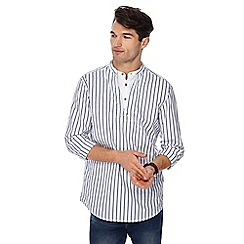 Mantaray - Big and tall white striped grandad collar regular fit kaftan shirt