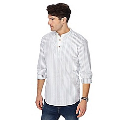 Mantaray - White striped grandad collar regular fit kaftan shirt