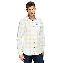 Mantaray - Big and tall yellow check print long sleeve shirt