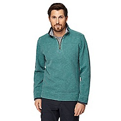 Mantaray - Big and tall green pique zip funnel neck top