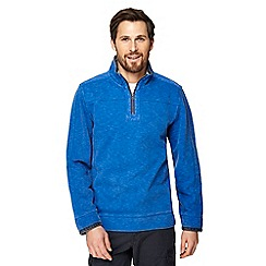 Mantaray - Big and tall blue pique zip funnel neck top