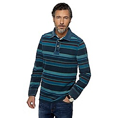 Mantaray - Big and tall blue stripe rugby shirt