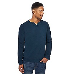 Mantaray - Turquoise textured notch neck sweatshirt