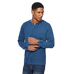 Mantaray - Blue textured notch neck sweatshirt