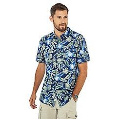 Mantaray - Multicoloured palm leaf print short sleeve regular fit shirt