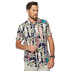 Mantaray - Big and tall multi-coloured palm tree surfboard print shirt