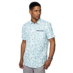 Mantaray - Aqua leaf print short sleeve shirt