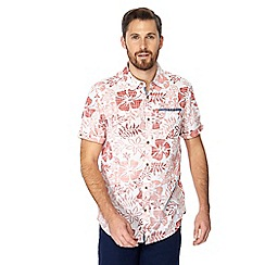 Mantaray - Pink hibiscus print short sleeve shirt