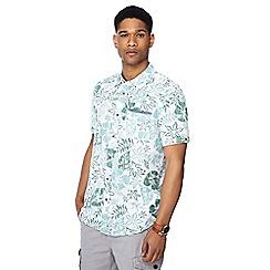 Mantaray - Green hibiscus print short sleeve shirt