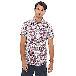Mantaray - Dark pink hibiscus print short sleeve regular fit shirt