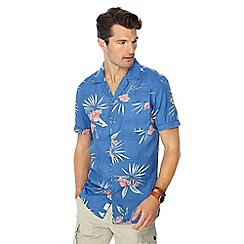 Mantaray - Blue Japanese floral print short sleeve shirt