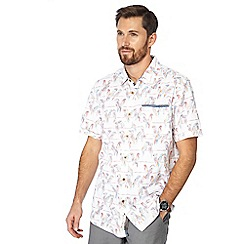 Mantaray - Big and tall white parrot print short sleeve shirt