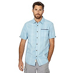Mantaray - Big and tall blue check print short sleeve shirt