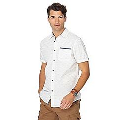 Mantaray - Big and tall white stripe print short sleeve shirt