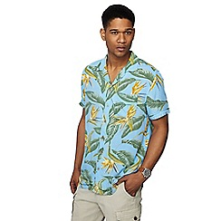 Mantaray - Big and tall blue fly trap print short sleeve shirt
