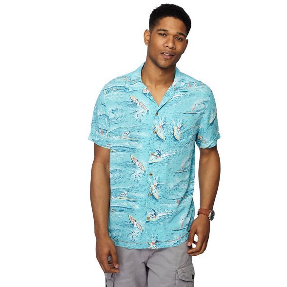 Big aqua and sleeve Mantaray print short shirt surf tall fp411qw