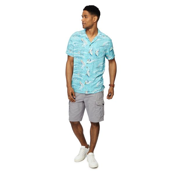 Big aqua and sleeve Mantaray print short shirt surf tall fp411qw
